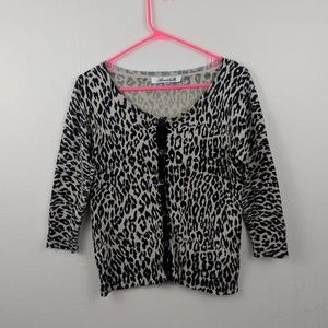 Annabella leopard print 90s 3/4 cardigan